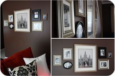 Family history wall - arrange wedding photos of parents and grandparents around your own. LOVE this idea!