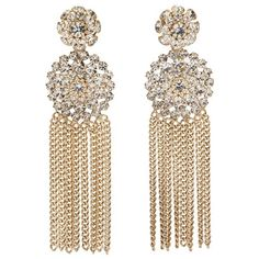 JANIS SAVITT EAR147A GOLD BRASS/CRYSTAL FLOWER CHAIN EARRING (€160) ❤ liked on Polyvore featuring jewelry, earrings, accessories, brincos, gioielli, women, long post earrings, gold chandelier earrings, long chain earrings and crystal earrings