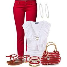 love this red-and-white look