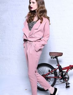 KRAZY BRAND SPECIAL DESIGN POWDER PINK CASUAL SUIT  $110