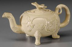 A Staffordshire, probably Whieldon earthenware globular teapot, grapes and vines, English, 18th century