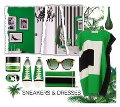 """""""Green, Black and White"""" by ladygroovenyc ❤ liked on Polyvore featuring Gianluca Capannolo, Lanvin, Perricone MD, Steven Alan and Bling Jewelry"""