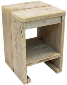 Krukje/nachtkastje van oud gebruikt steigerhout Afmeting B36xD38xH52cm (19720131445)