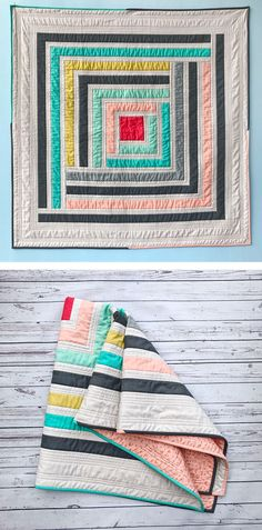 Modern Log Cabin Quilt Pattern. Campfire quilt comes in king, queen, throw and baby quilt sizes