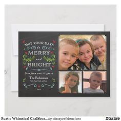 Shop Rustic Whimsical Chalkboard Holiday Card created by classycelebrations. Modern Christmas Cards, Christmas Photo Cards, Christmas Card Holders, Christmas Photos, Christmas Greetings, Holiday Cards, Christmas Typography, Holiday Photos, Merry And Bright