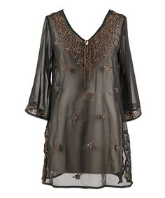 Take a look at the Black & Brown Sheer Embroidered Cover-Up - Women on #zulily today!