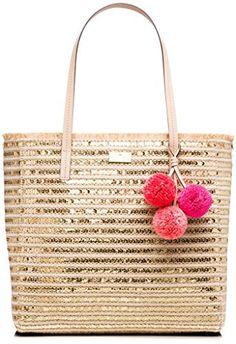 New Trending Shopper Bags: Kate Spade Garden Way Glitter Hallie Woven Tote Bag With Pom Pom Charm, Natural/Gold. Kate Spade Garden Way Glitter Hallie Woven Tote Bag With Pom Pom Charm, Natural/Gold Special Offer: $198.00 166 Reviews Whether you need a tote to take to the beach, or simply one that reminds you of those long, lovely days on the sand, the garden way Hallie is your bag.Approximate...