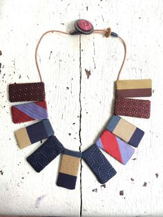 Silk Textile Statement Necklace by lesliejanson on Etsy