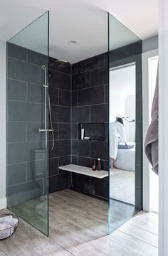 frameless walk in shower, tile contrast