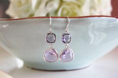Purple Glass Earrings, Bridesmaids Jewelry, Bridal Jewelry, Wedding Jewelry