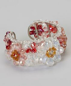 Another great find on #zulily! Pink & Clear Crystal Flower Bracelet by PANNEE JEWELRY #zulilyfinds
