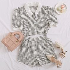 To find out about the Plaid Button Front Puff Sleeve Tweed Top With Shorts at SHEIN, part of our latest Two-piece Outfits ready to shop online today! Kpop Fashion Outfits, Girls Fashion Clothes, Mode Outfits, Girly Outfits, Cute Casual Outfits, Pretty Outfits, Stylish Outfits, Korean Girl Fashion, Cute Fashion