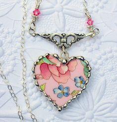 Broken China Jewelry China Heart Pendant by Robinsnestcreation1, $49.95