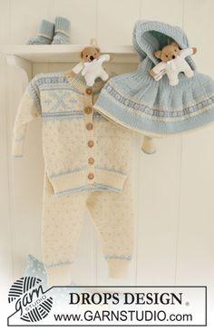 "BabyDROPS 19-21 - Settiin kuuluu: Kuviollinen DROPS jakku, housut, huppumyssy ja sukat ""Baby Merino"" -langasta. - Free pattern by DROPS Design"
