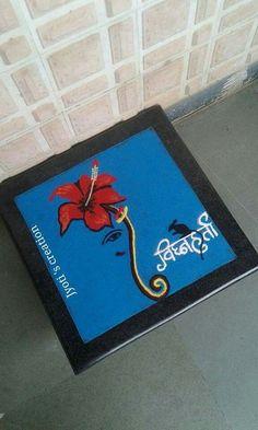Easy Rangoli Designs Videos, Indian Rangoli Designs, Rangoli Ideas, Beautiful Rangoli Designs, Happy Diwali Rangoli, Diwali Craft, Abstract Painting Techniques, Acrylic Painting Canvas, Sanskar Bharti Rangoli Designs