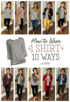 How to wear 1 striped shirt 10 different ways! A good basic striped tee can be worn so many ways! This striped tee is a super soft material, and I love the little twist detail added! Here are 10 ways Mode Outfits, Casual Outfits, Stylish Mom Outfits, Stylish Eve, Urban Outfits, Mode Style, Style Me, Outfits With Striped Shirts, Colored Jeans Outfits