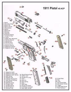 1911 45 Acp Pistol Diagram Poster Picture Vlueprint Schematic Kimber Colt 3016