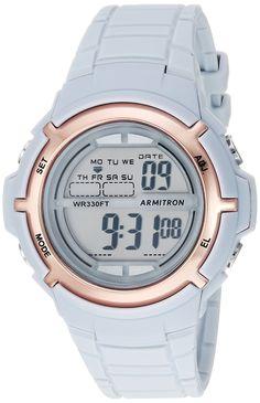 4b606e32a562 Armitron Sport Women s 45 7045PBL Rose Gold-Tone Accented Digital Powder  Blue Resin Strap Watch