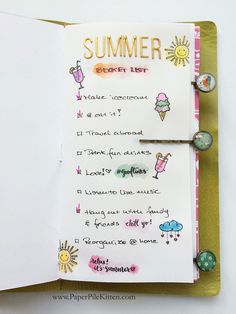 Summer Bucket List in Traveler's Notebook by paperpilekitten at @studio_calico