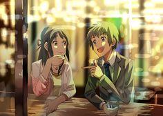 Kimi no na wa Taki and Mitsuha Kimi No Na Wa, Manga Art, Manga Anime, Anime Art, Mitsuha And Taki, Your Name Anime, L Death Note, A Silent Voice, Another Anime