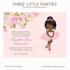Printable free DIY ballerina party invitations Party Printables