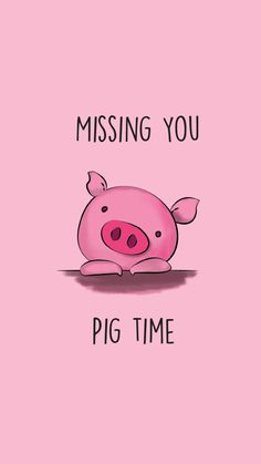 Funny Pun: Missing You Pig Time - Animal Humor - Punny