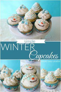 Winter Cupcakes : Snowmen Cupcakes #cupcakes #wintercupcakes #snowmencupcakes #partner