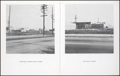 Real Estate Opportunities, 1970 by Ed Ruscha. Self published book, offset lithograph. Open to pages 12th and Sentous (southeast corner), and 1140 E. Pico. Getty Research Institute.