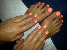 Neon Orange nails toes with bling China glaze