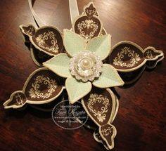 Ornament made with Stampin' Up!'s Ornament Keepsakes stamps, Framelits, and Big Shot - Tara Bazata