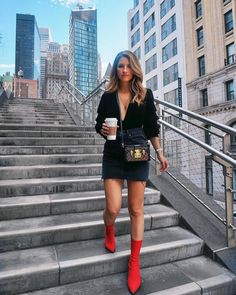 Red booties x all black outfit - nyc street style Sock Boots Outfit, Black Booties Outfit, Red Booties, Ankle Booties, Leather Booties, All Black Outfits For Women, Black Women Fashion, Womens Fashion, Fashion Trends