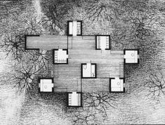 Rooms in the Forest: Jan Szpakowicz's House (1971)| The house Jan Szpakowicz designed and built for himself in 1971 deals with the Polish architect's will to inhabit the woods, merging the domestic space with the natural settings. The plan is composed of nine square rooms arranged at regular intervals. The structural boxes, made of concrete, enclose the bedrooms, the bathrooms, the kitchen and the dressing rooms, squeezing the functions into minimal dimensions. | plan