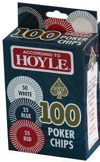 Hoyle Products: Hoyle 100 Poker Chips (According To Hoyle Packaging) by Hoyle Products. $9.11. Hoyle 100 Poker Chips:  50 White - 25 Red - 25 Blue