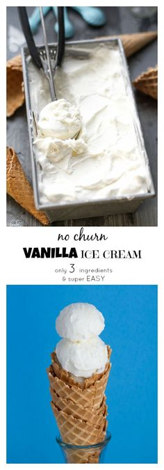 No Churn Ice Cream - super EASY to make with only 3 ingredients and so creamy and delicious! Perfect for cooling down on a hot day!