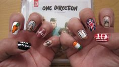 One Direction nails. One Direction nails. Jordan we WILL be wearing these to the concert. One Direction Nails, One Direction Memes, One Direction Pictures, I Love One Direction, Beautiful Nail Designs, Cute Nail Designs, Us Nails, Hair And Nails, Band Nails