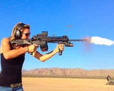 Lisa Jean - slim , sexy and perfect girl manage the 50 BMG rifle like a boss.