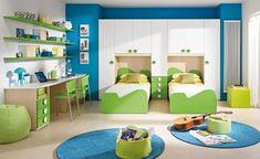 chambre enfant en vert et bleu clairs