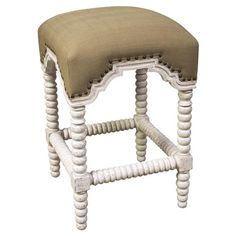 Ansel French Country Linen White Wash Bobbin Counter Stool