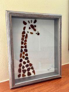 Sea Glass Art Giraffe Picture Genuine Sea Glass Framed Artwork