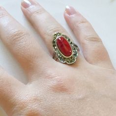 💛Beautiful bright red antique look silver ring Pretty antique-looking ring with semi precious stone and silver plated intricate ring. Gorgeous statement piece, great for spring and summer! Jewelry Rings