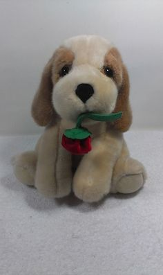 """Russ Berrie Tan Puppy Dog Stuffed Plush Animal Pup Red Rose Soft Toy 10""""  #Russ"""