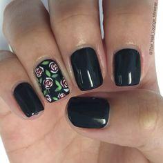 Black vintage rose nail art design