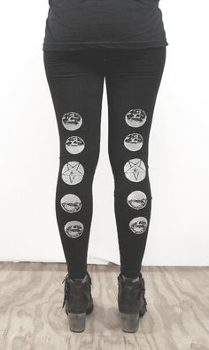 printed on back- Phases of the moon leggings