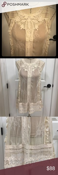 Anthropologie sheer lace tunic This cream fine lace shirt is beautiful!  By Moulinette Soeurs from Anthropologie. Size 2.  Has a loose A line fit.  In perfect shape.  Lace is very intricate.  Short is sheer so shown with nude cami (not included).  Great on its own or layered. Anthropologie Tops Tunics