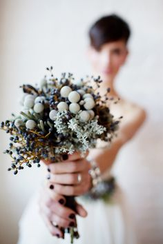 Original Caption: Rustic New Year's Eve: Silver bruin, hap fiddleheads, privet berry + kochia - Fresh Flower Wedding Accessories + Hairstyles from Verbena Floral Design - Photography by Jenna Tristan Dried Flower Bouquet, Succulent Bouquet, Dried Flowers, Black Bouquet, Bride Bouquets, Bridesmaid Bouquet, Floral Wedding, Wedding Flowers, Wedding Stuff