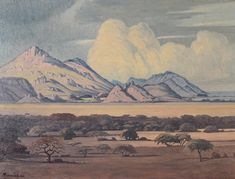 Bonhams Fine Art Auctioneers & Valuers: auctioneers of art, pictures, collectables and motor cars South Africa Art, African Paintings, South African Artists, Artist At Work, Landscape Paintings, Art Projects, Fine Art, Mountains, Canvases