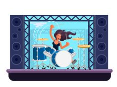 Drummer designed by Hemanta. Connect with them on Dribbble; the global community for designers and creative professionals. Girl Drummer, Flat Design, Illustration Vector, Babe, Guitarist, Illustrations, Apartment Design