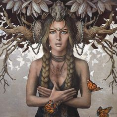Gaelle Canvas Print by Sophie Wilkins Art Print Art Visionnaire, Canadian Painters, Magic Realism, Nature Illustration, Visionary Art, Divine Feminine, Fantastic Art, Awesome, Illustrations