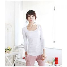 New Arrived Concise and Simply Round Neckline Long Sleeves Lycra Under Shirt For Women, WHITE, FREE SIZE in Blouses | DressLily.com