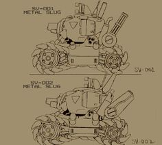 METAL SLUG .:. concept art Cool Sketches, Cool Drawings, Character Sheet, Character Design, Robot Sketch, Futuristic Cars, Mechanical Design, Anime, Texture Art